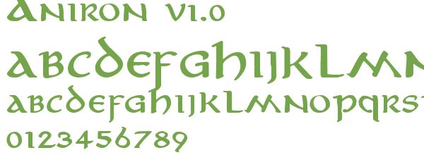 Télécharger la police d'écriture Aniron v1.0