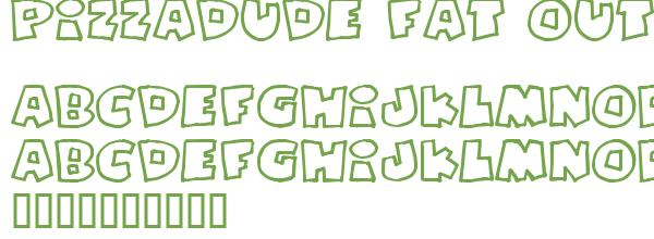 Télécharger la police d'écriture Pizzadude Fat Outline v2 Previ